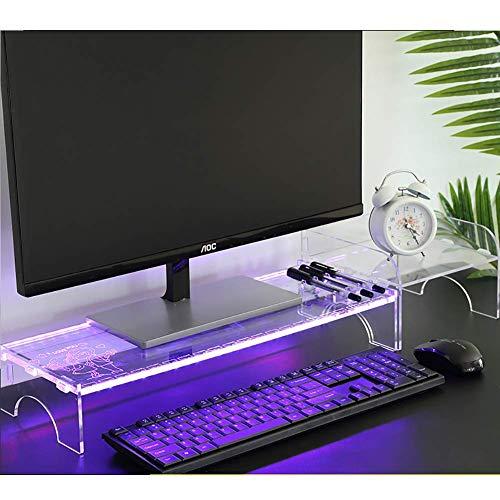 Monitorbeugel van acryl, transparant, montagebeugel voor computerscherm, dimbaar, multifunctioneel, ruimtebesparend, bureauorganizer Office-e 69x20x8c
