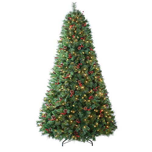 Amaoasis 9ft Pre-lit Christmas Tree with 850 Warm White Lights,Artificial Carolina Pine Trees,Flocked with 63 Pinecones,63 Red Berries