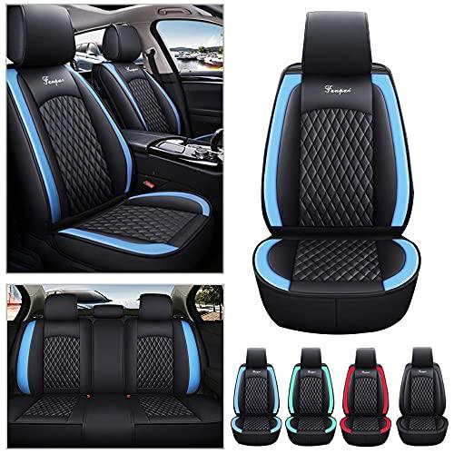 Fundas de asiento de coche universales para Toyota Aygo para todo tipo de clima, de piel sintética, resistentes al desgaste, impermeables, 5 asientos, color negro con azul
