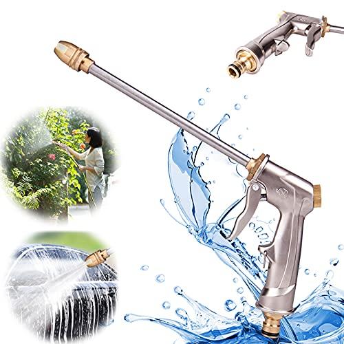 Garden Hose Nozzle, Upgrade High Pressure Hose Nozzle, Adjustable Spraying Modes Hose Spray Nozzle with Long Rod Heavy Duty Garden Hose Nozzle for Planting Car Wash Patio Gardening