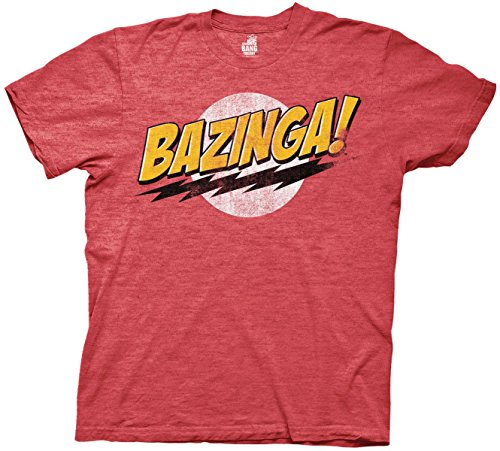The Big Bang Theory Bazinga! Mens Red Heather T-Shirt 2XL
