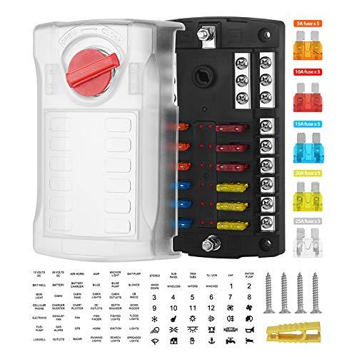 Ksodgun Hoja de LED de 12 vías con caja de fusibles ATC con barra de bus negativa Coche impermeable Automotriz Marina 12V 100A Línea de confianza
