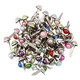 Amosfun Mini Brads Perlen Brads Musterbeutelklammern Metall Runde Brads für Papier Handwerk Stanzen Scrapbooking DIY 50 Stück