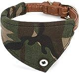 Puccybell Camouflage Hundehalsband mit Bandana Tuch, klassisches Halsband für kleine und mittelgroße Hunde HB007 (M, Grün)