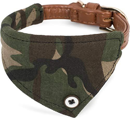 Puccybell Camouflage Hundehalsband mit Bandana Tuch, klassisches Halsband für kleine und mittelgroße Hunde HB007 (S, Grün)