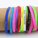 Ruluti Drucken 20pcs Buchstaben-silikon-Armband-Armband 5mm Elastische Gummifreundschaftsbänder...