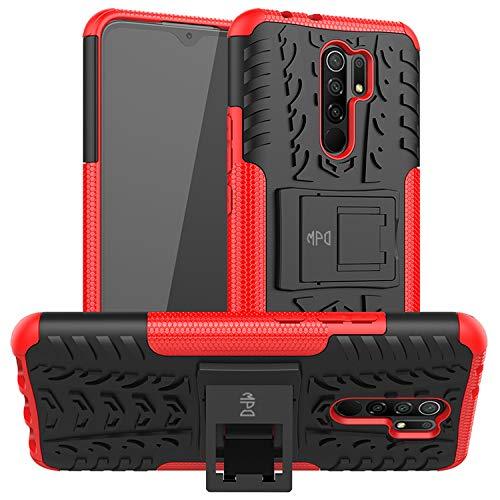 Max Power Digital Funda para Xiaomi Redmi 9 con Soporte Protección 360 Grados 2 en 1 Carcasa Dura Resistente Antigolpes Heavy Duty Rugged Armor Case (Xiaomi Redmi 9, Rojo)