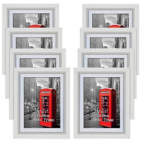 PETAFLOP Bilderrahmen 13x18 Weiß mit Passepartout 15x20 ohne Passepartout, 8er Set