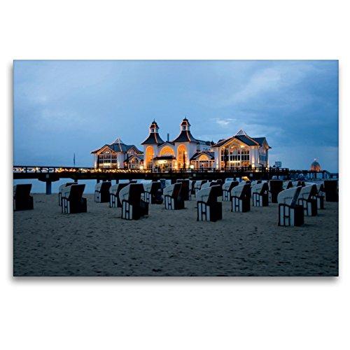 Premium Textil-Leinwand 120 x 80 cm Quer-Format Seebrücke Sellin | Wandbild, HD-Bild auf Keilrahmen, Fertigbild auf hochwertigem Vlies, Leinwanddruck von Steffen Gierok