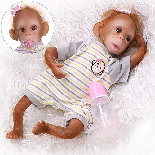 iCradle New 16inch 45cm Handmade Very Detailed Painting Reborn Baby Monkey Dolls Orangutans Collectible Doll Toy for Ages 3+