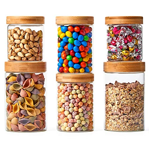 EZOWare 6er Set Glas Vorratsdosen, Vorratsgläser Lebensmittel Lagerung Behälter mit Bambus Aluminium Deckel for für Küche, Bad - Gemischt