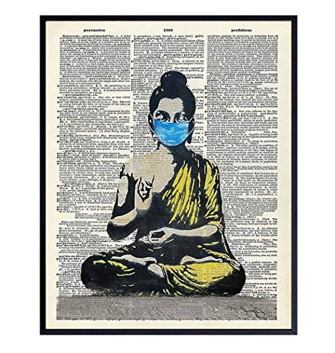 Zen Decor - Buddha Wall Art - Buddha Statue Decor - New Age Room Decoration - Unique Meditation Gift - 8x10 Spiritual Poster for Spa, Bedroom, Living Room - Funny Graffiti Wall Art