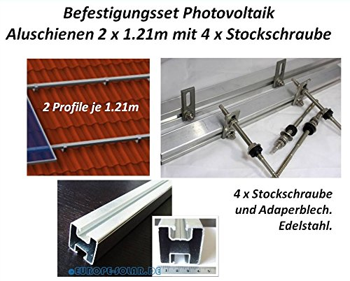 Solar Befestigungsset 2 x Aluprofil je 1.20 Mit 4 x Stockschraube M10 x 180mm. Photovoltaik