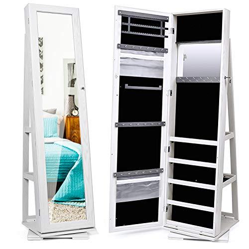 Titan Mall Armoire Jewelry Cabinet Standing Jewelry Organizer Jewelry Armoire with Mirror 360 Rotating Mirrored Jewelry Cabinet Armoire Mirror with Jewelry Storage, White
