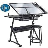 Display4top Table à Dessin pour l'art et l'Artisanat - Comprend des tabourets, Plusieurs bacs de...