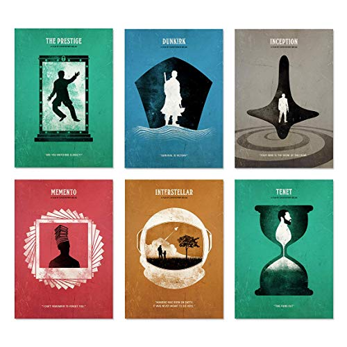 Dunkirk, Tenet, Inception, The Prestige, Memento, Interstellar Christopher Nolan Minimalist Movie Poster Set, Christopher Nolan Art Print, Office Decor, Home Decor, Wall Hanging