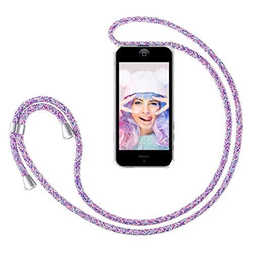ZhinkArts Handykette kompatibel mit Apple iPhone 5 / 5S / SE - Smartphone Necklace Hülle mit Band - Schnur mit Case zum umhängen in Unicorn