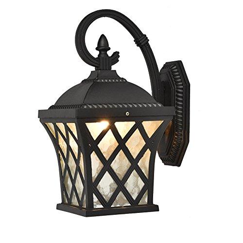 Lampes murales extérieures imperméables, Européen Vintage LED en verre aluminium éclairage suspendu lampe murale Antique Salon créatif porche applique murale (Color : Black-33 * 52cm)