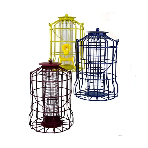 Easipet Wild Bird Feeder 3pcs Seed Nut Fat Ball Metal Hanging Squirrel Proof Guard