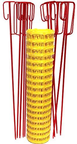 UvV Set Fangzaun gelb je 50 m + 10 rote Absperrleinenhalter, Absperrnetz, Maschenzaun, Bauzaun Rolle Kunststoff Extra Reissfest, 150 gr (Gelb-Rot)
