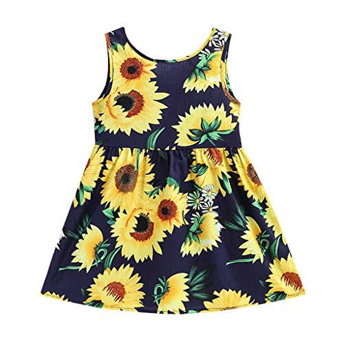 Kobay Mädchen Sommer Süßes Muster Kleinkind Baby Kinder Mädchen Ärmellose Sonnenblumen Rock Prinzessin Kleider Kleidung