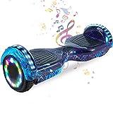 HappyBoard 6,5 Pollici Hoverboard Monopattini Elettrici Autobilanciati Scooter Elettrico Autobilanciante, Ruote da Skateboard con Luce a LED, Motore 700 W Bluetooth per Bambini e Adulti (Argento)