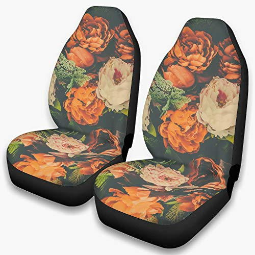 Car Seat Covers Protector Retro Flowers Printed Full Wrap Bucket Seat Covers 2pc Set Universal Fit white onesize