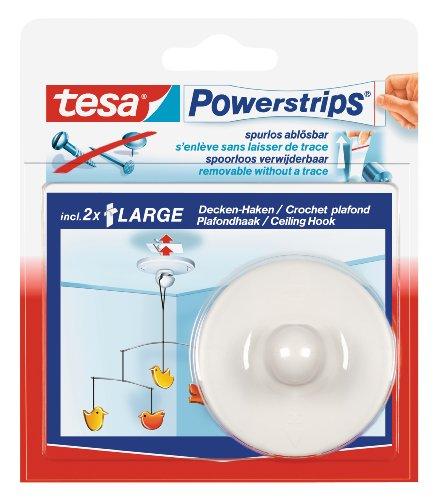Tesa 58029-00020-00 Deckenhaken inkl. 2 Powerstrips 6er Set weiß