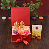 CollectibleIndia Laxmi Ganesha Diwali Gift Hameprs Box Set -Gold Plated Laxmi Ganesh Idol Showpiece - Set of 4 Floating Tealight Candles,Special Greeting Card - Diwali Decoration Items for Home