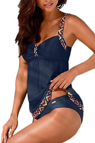 Tankinis Mujer Traje de Baño de Dos Piezas Conjunto Push up Bikini Playa Beachwear Darkblue XL