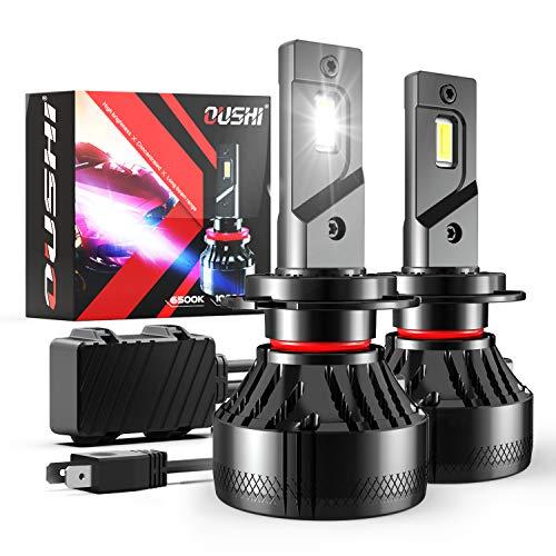 Bombilla H7 LED Coche, OUSHI 110W 2x10000LM 6500K Xenon Blanco 12V Súper Brillante LED Bombillas Faros Delanteros para Coches Kits de Conversión (Paquete de 2)