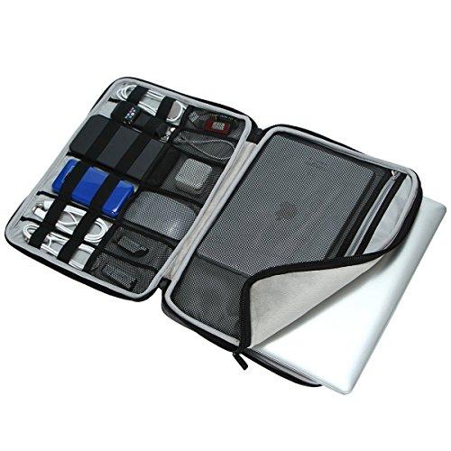 iCozzier 13-13,3 Zoll Notebook Hülle Sleeve Tasche mit Griffen/Multifunktionale Aufbewahrungs Zubehörtasche für 13 Zoll Laptop/Ultrabook/Notebook/Netbook/MacBook - Grau - 3