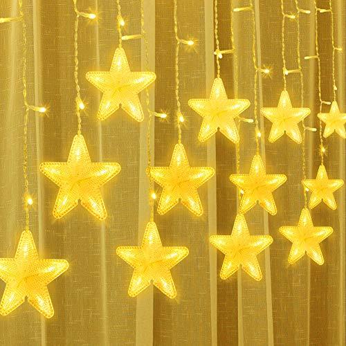 Uping 180 LED Sterne Lichterkette, LED Lichtervorhang, Wasserdicht 8 Modi Außenlichterkette Deko für Garten, Haus, Hochzeit, Party, Warmweiß
