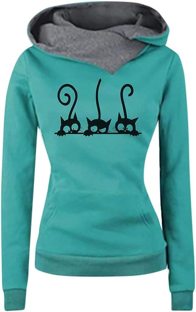 Girls' Hoodie, Misaky Pullover Sweatshirt Jumper Leisure Three Cartoon Cat Prints Long Sleeve Pocket Hooded Blouse