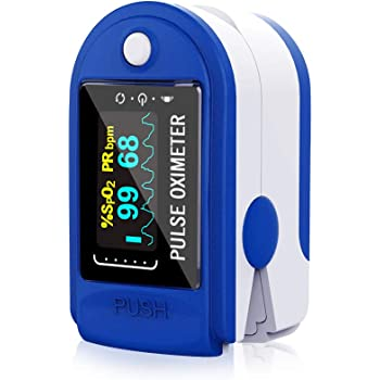 HAMSWAN Pulsossimetro da Dito (Senza pile AAA), Monitor dell'Ossigeno con Cardiofrequenzimetro, per La Frequenza del Polso (PR) e La Saturazione dell'ossigeno (Spo2) con Display a OLED