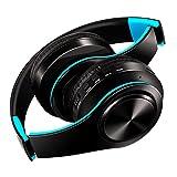 Bluetoothヘッドホン ワイヤレス ヘッドフォン 高音質 重低音 折りたたみ式 ケーブル着脱式マイク付き (青+黒)