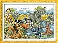 新しい刻印クロスステッチキット 動物の世界 初心者大人のためのDIYハンドニードルワークキット、家の壁の装飾のリビングルーム