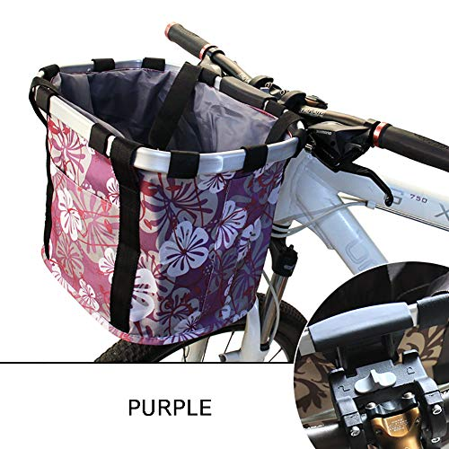 Zzzy Cesta Delantera Desmontable De Bicicleta Oxford De Tela para Cargar Mascotas, Perros Y Gatos, Viajes De Compras, Picnic - Capacidad Máxima De Carga: 5 Kg (11 LB)