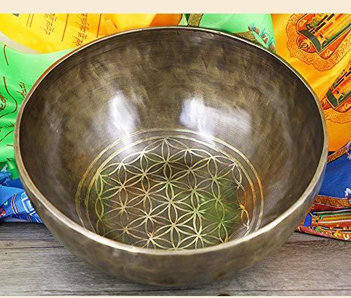 Laogg Tibetische Klangschale,Nepal große Buddha Ton Schüssel Himalaya Planetary Energie Leben Blume Tibet Retro Klangschale, 28CM für Achtsamkeit...
