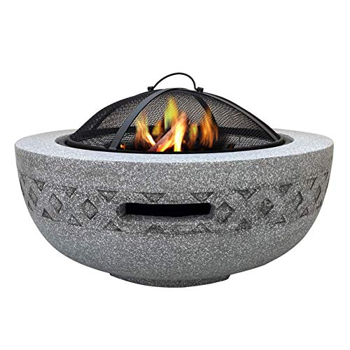 AJH Outdoor Garden Patio Heater Camping Bowl for Wood Garden Camping Poker Brazier BBQ/Ice Pit (3 in 1Fire Pit Round Table & Grill)