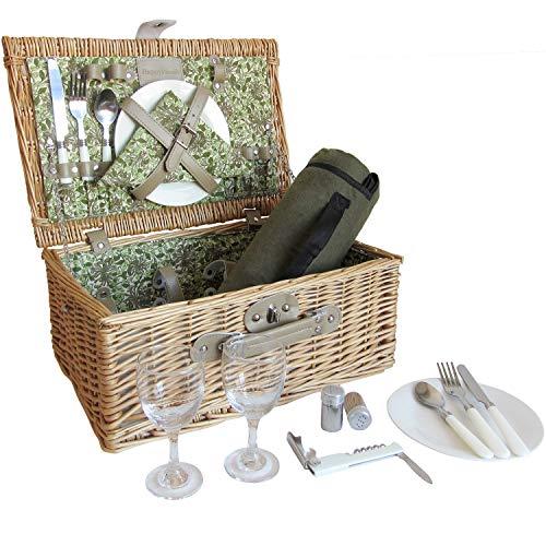 2P Wilg Picknick Mand Set met Bloemenvoering, Picknick Hamper met Picknick Deken, Wijnglazen, Keramische Platen, Flatware & Servetten, voor Verjaardag, Huwelijk, Jubileum en Festivals