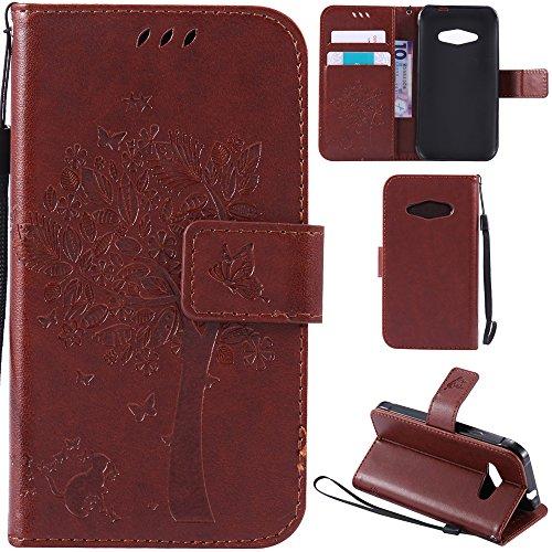 Ooboom® Funda para Samsung Galaxy J1 Ace Flip Wallet Case Cover Carcasa Piel PU Billetera Soporte con Ranuras Tarjetas Cierre Magnético - Café