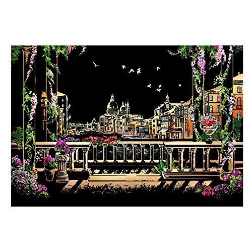 Peahog Papel para rascar, diseño de arcoíris, para rascar, serie urbana, escena nocturna, papel de dibujo, para niños y adultos, pintura de regalo