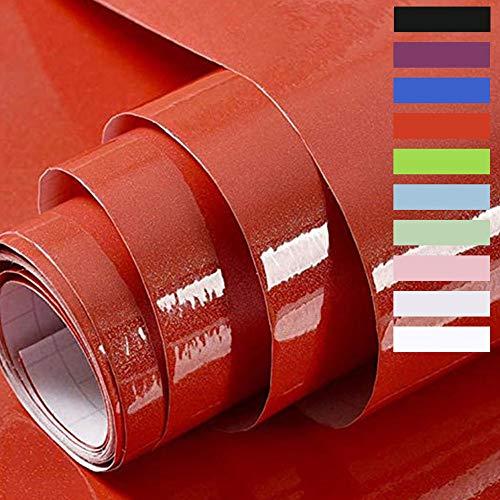 Hode Papel Adhesivo para Muebles Vinilos Adhesivo para Muebles Puertas Ventanas Pegatina de Vinilo Adhesivo Muebles 60X500cm (Rojo)