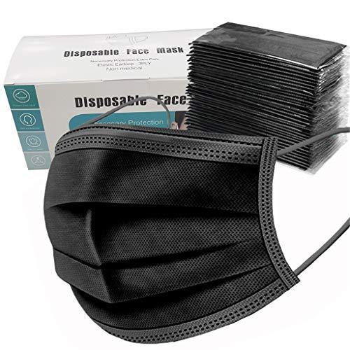 SHINEHUA 100 Stück Schwarze Einmal Mundschutz Individuelles Paket
