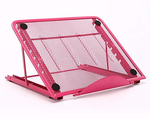 BIGER Laptop Stand, Plegable Titular Equipo portátil Escritorio ventilada, Universal Ligero ergonómico Ajustable Montaje Bandeja Compatible con IM (AC) / Laptop/Ordenador portátil/Tablet,Rosado