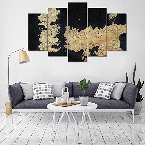 QYY Decoración del hogar Arte de la Pared Lienzos Carteles Impresos en HD Modular 5 Piezas Juego de Tronos Pinturas Resumen Mapa Imágenes para Sala de Estar