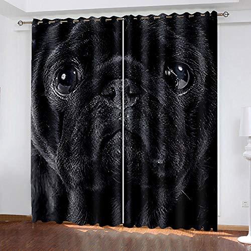 DRFQSK Cortinas Infantiles Impresión Digital Perro De Arte Negro 3D Cortinas Opacas Termicas Aislantes Cortinas Dormitorio Moderno con Ollaos, 2 Paneles 234 X 230 Cm(An X Al)