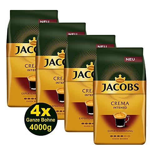 Jacobs Kaffee CREMA INTENSO Expertenröstung Ganze Bohne 4x 1000g (4000g) - Ausgewählte Kaffeesorten!