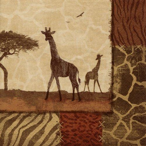 20 Servietten Giraffe um afrikanische Muster/Tiere/Afrika 33x33cm (Badartikel)